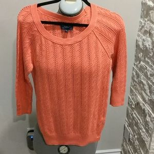 American Eagle orange crochet  type sweater